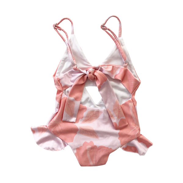LAST ONE! 8 girls: Hibiscus Coral Peek-a-Boo Swimsuit