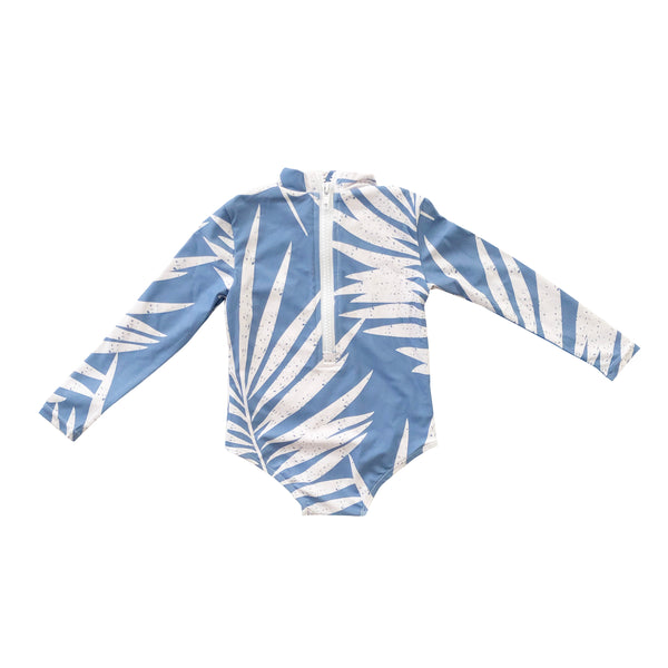 Blue Palm Long Sleeve Swimsuit (6M to 14 Girls)
