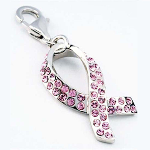 Swarovski Silver Breast Cancer Charm - Creative Crystal