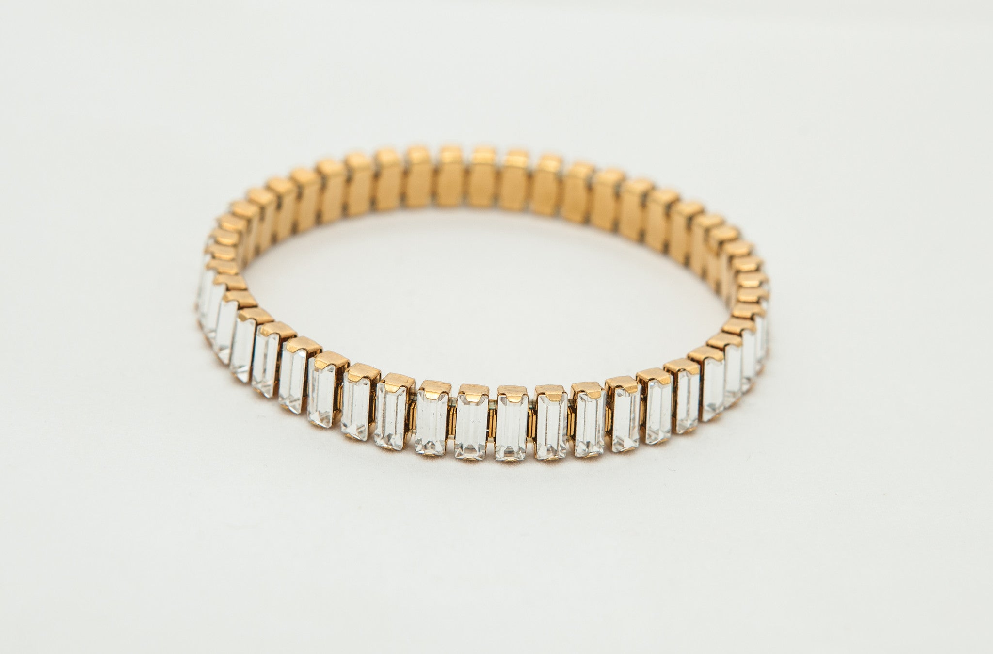Gold Stretch Bracelet with Swarovski Baguette Crystals - Creative Crystal