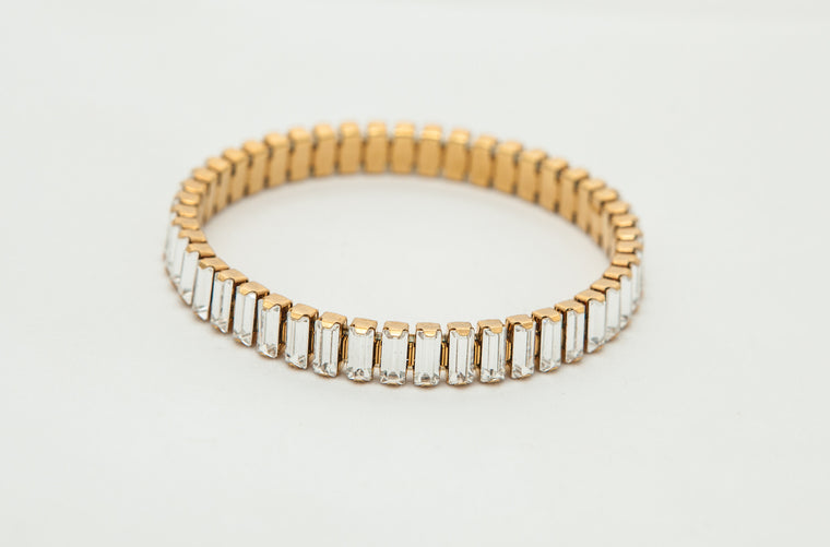 Gold Stretch Bracelet with Swarovski Baguette Crystals