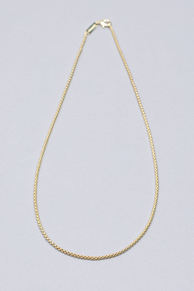 SMALL ROUND BOX CHAIN NECKLACE (14K GOLD)