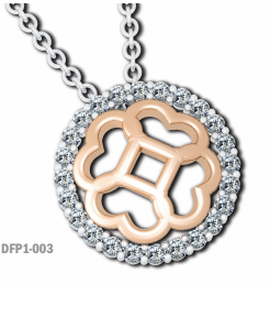 Diamond Circle Domed  Floret Pendant