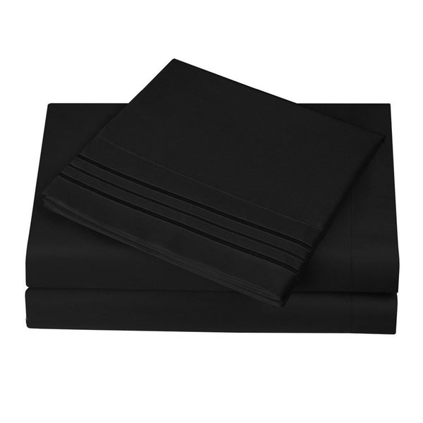 Black Plush Microfiber Sheet Set