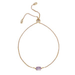 Amethyst & Gold Adjustable Chain Bracelet