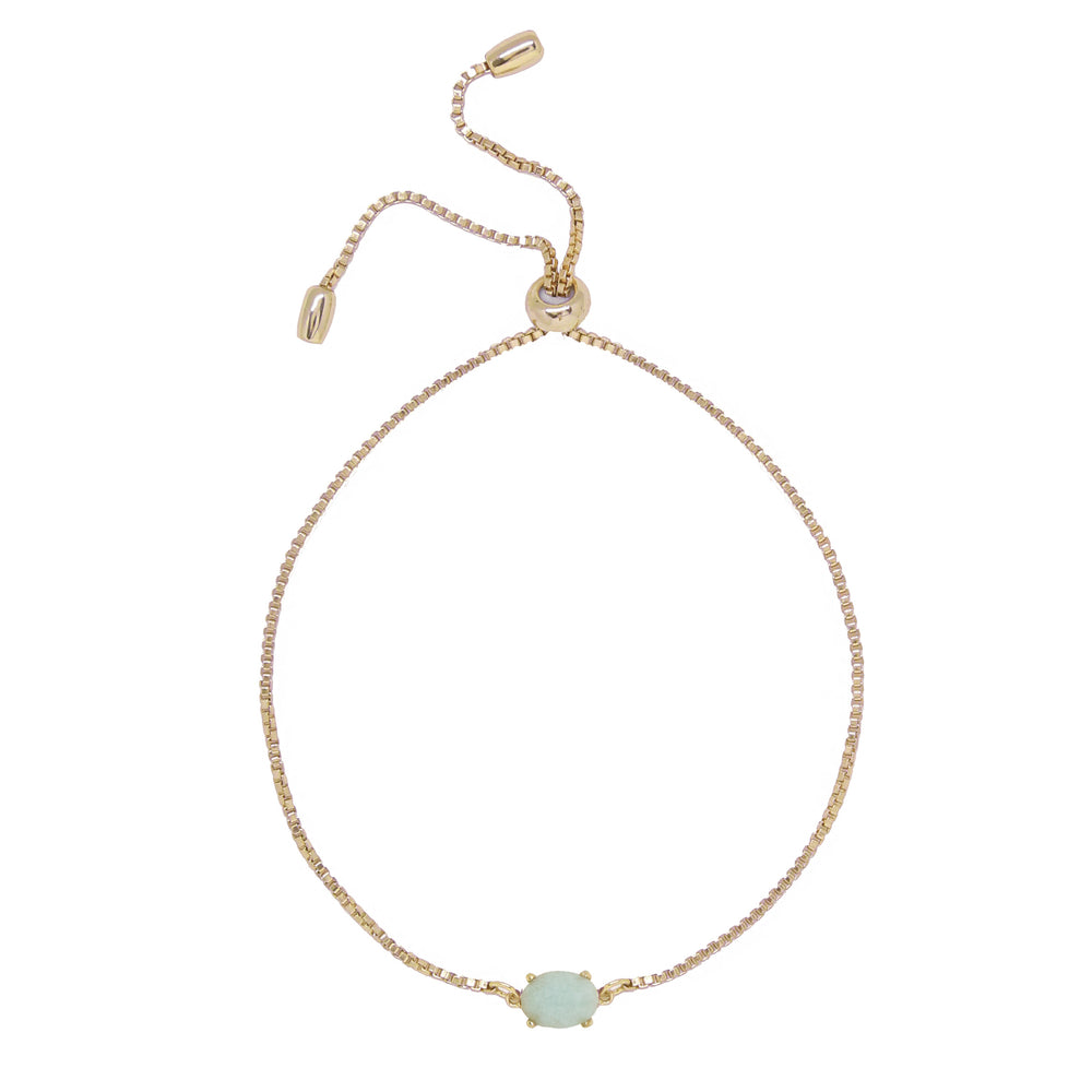Amazonite & Gold Adjustable Chain Bracelet