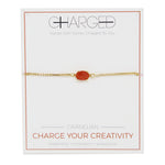 Carnelian & Gold Adjustable Chain Bracelet