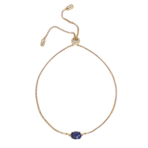 Lapis & Gold Adjustable Chain Bracelet