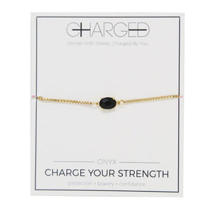 Onyx & Gold Adjustable Chain Bracelet