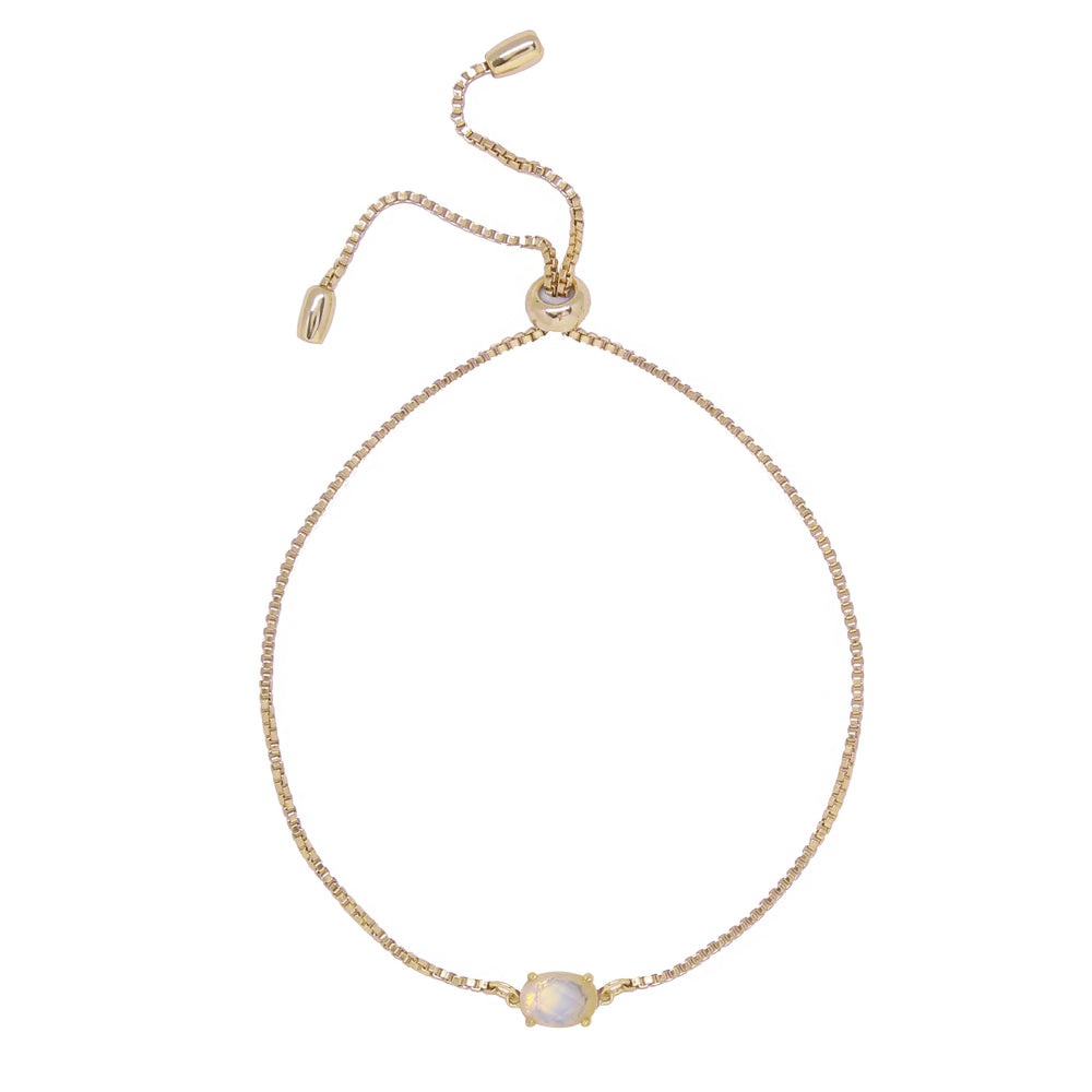 Opal & Gold Adjustable Chain Bracelet