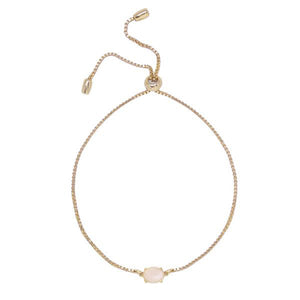 Rose Quartz & Gold Adjustable Chain Bracelet