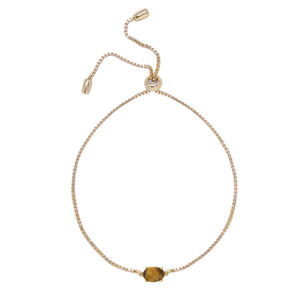Tiger's Eye & Gold Adjustable Chain Bracelet