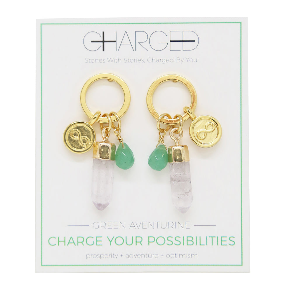 Aventurine & Gold Charm Earrings