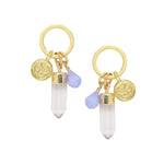 Blue Agate & Gold Charm Earrings