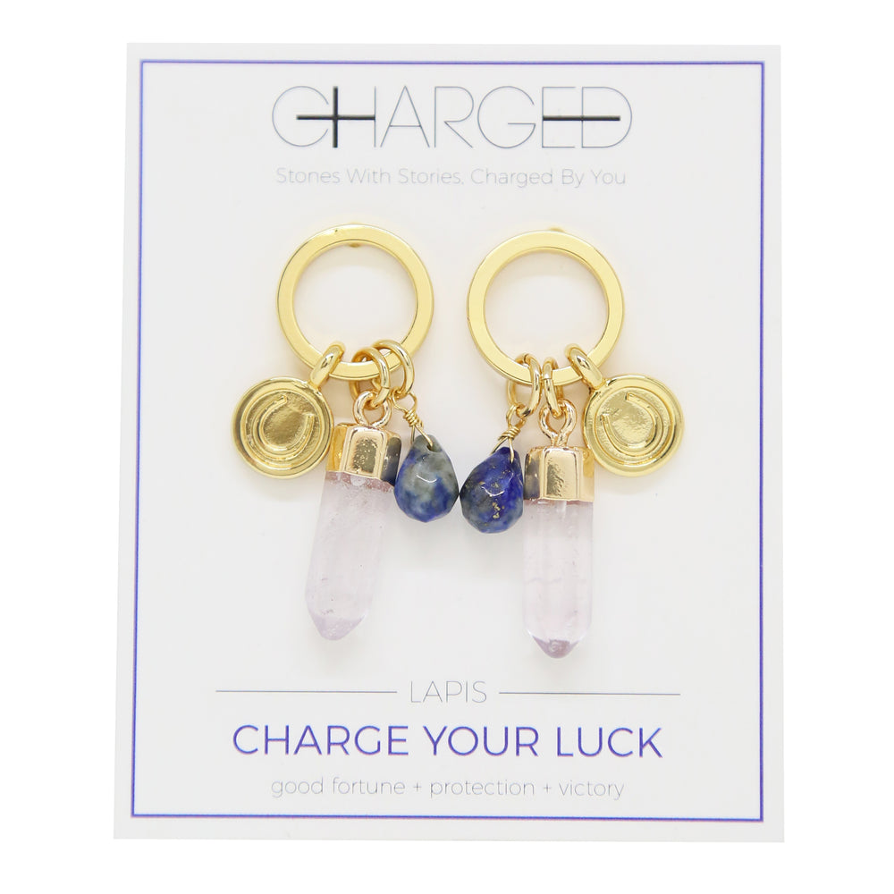 Lapis & Gold Charm Earrings