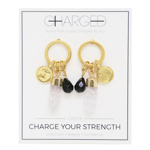 Onyx & Gold Charm Earrings