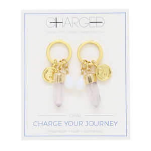 Opal & Gold Charm Earrings