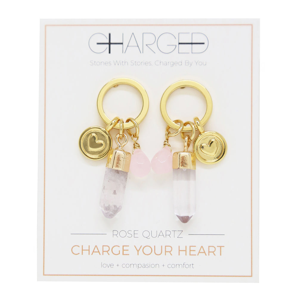 Rose Quartz & Gold Charm Earrings