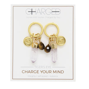 Tiger's Eye & Gold Charm Earrings
