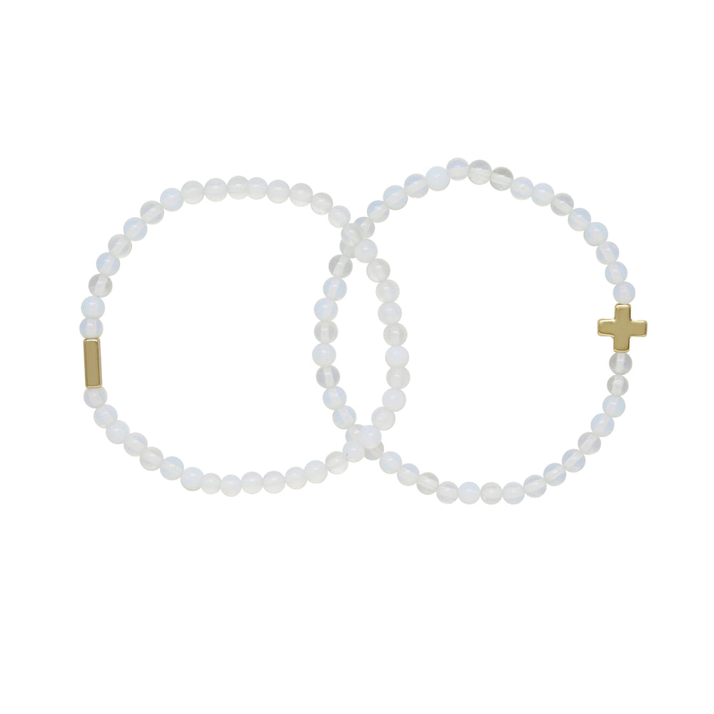 Opal & Gold Elastic Bracelet Set of 2