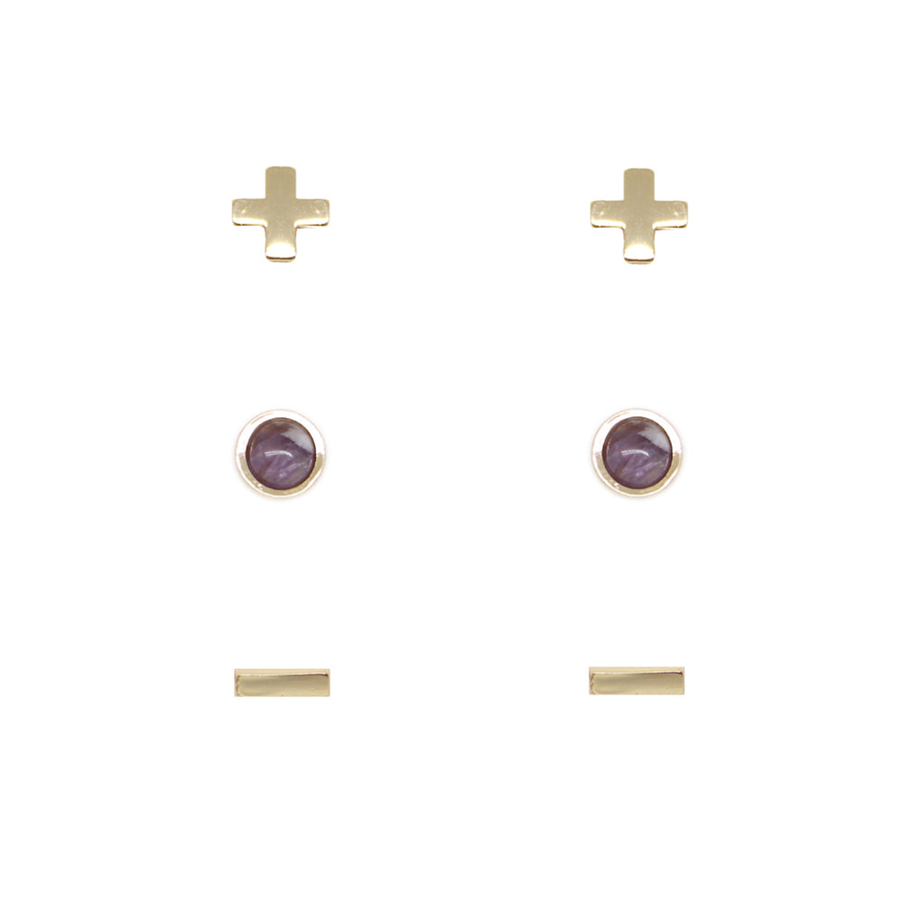 Amethyst & Gold Set of 3 Earrings
