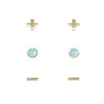 Amazonite & Gold Set of 3 Earrings