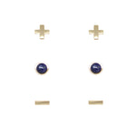 Lapis & Gold Set of 3 Earrings