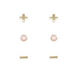 Rose Quartz & Gold Set of 3 Earrings