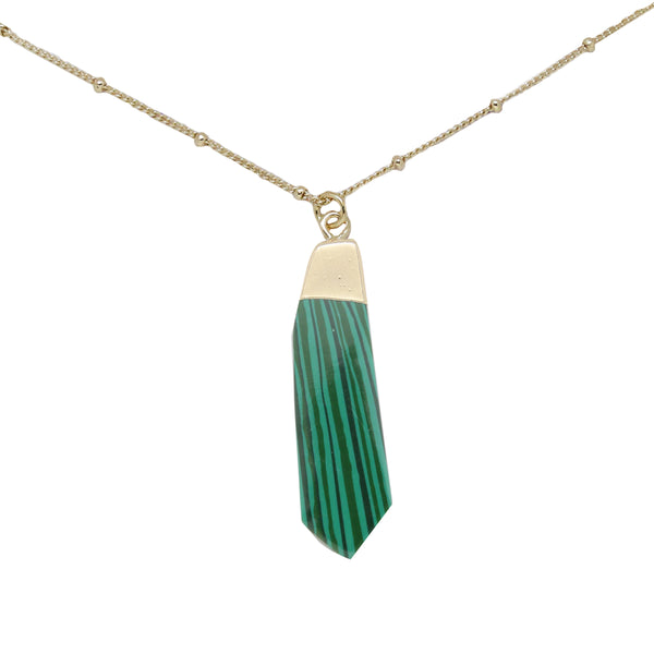 Malachite & Gold Pendant Necklace