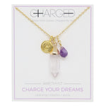Amethyst & Gold Charm Necklace