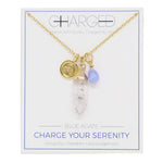 Blue Agate & Gold Charm Necklace