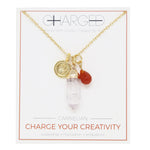 Carnelian & Gold Charm Necklace
