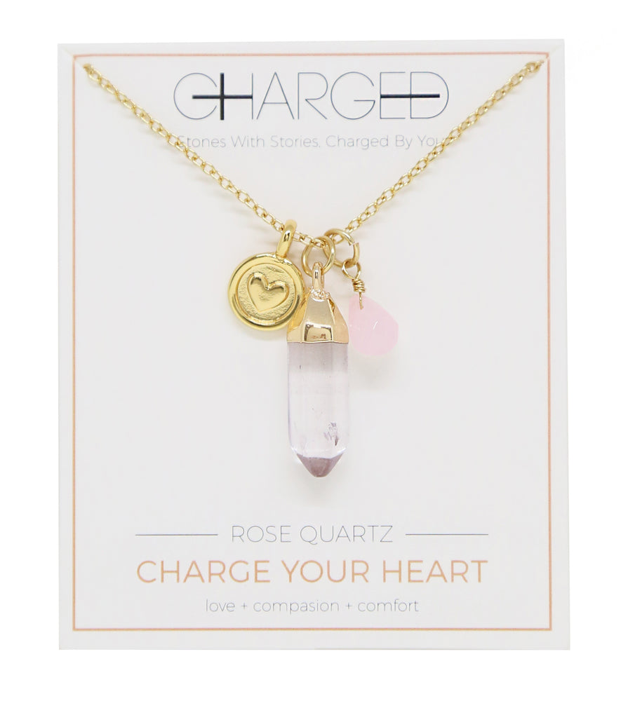 Rose Quartz & Gold Charm Necklace