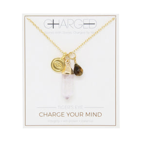 Tiger's Eye & Gold Charm Necklace