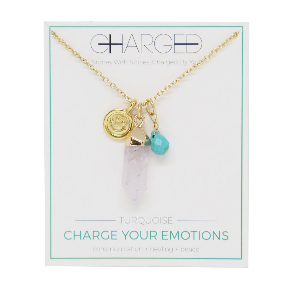 Turquoise & Gold Charm Necklace
