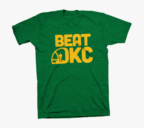"""BEAT OKC"" Shirt - Heather Green Blend"
