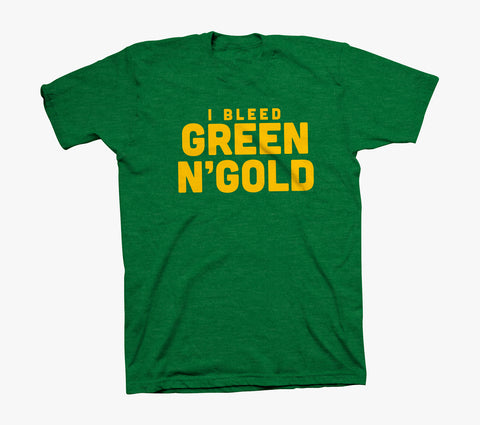 GREEN N' GOLD BLEEDER Shirt - Heather Green Blended