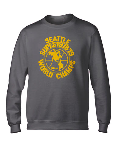 Retro Globe Championship Crewneck Heather Grey Sweatshirt