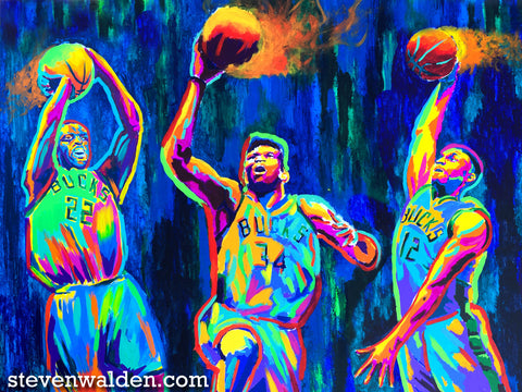 Khris Middleton, Giannis Antetokounmpo, and Jabari Parker (3D)