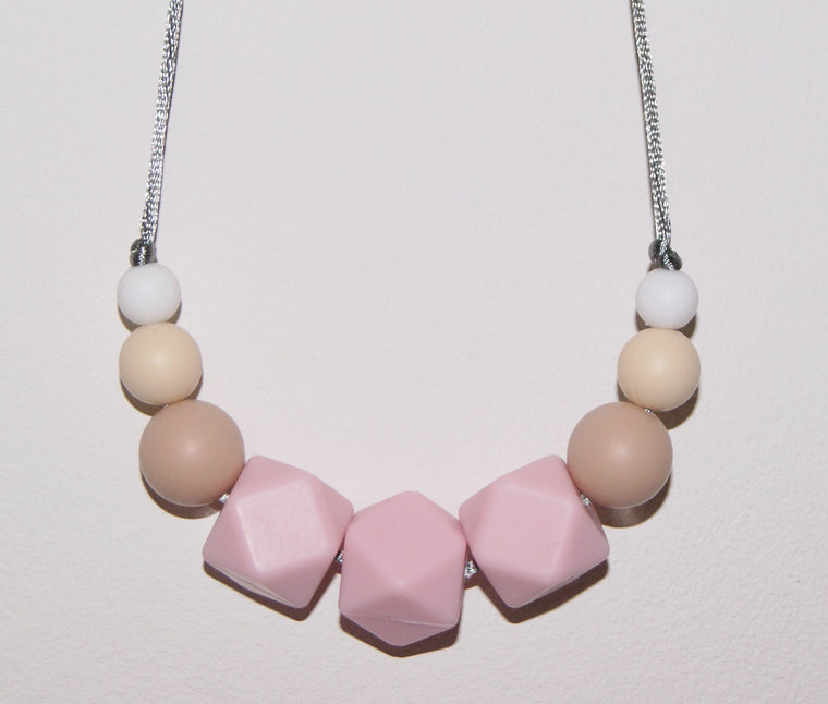 Pink Teething necklace for mum and baby