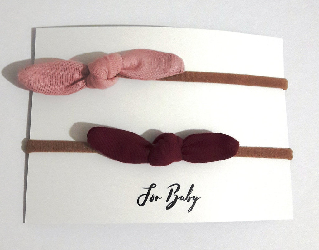 Tiny Hair Bow Duo- Berry