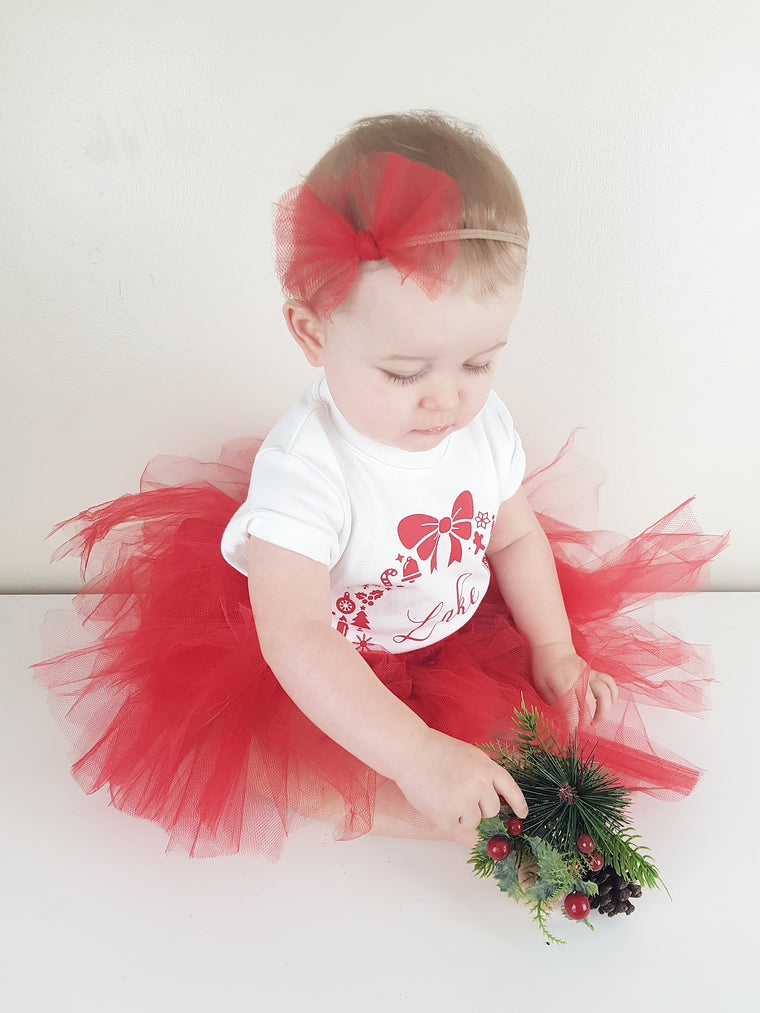 Christmas Tutu and bow set
