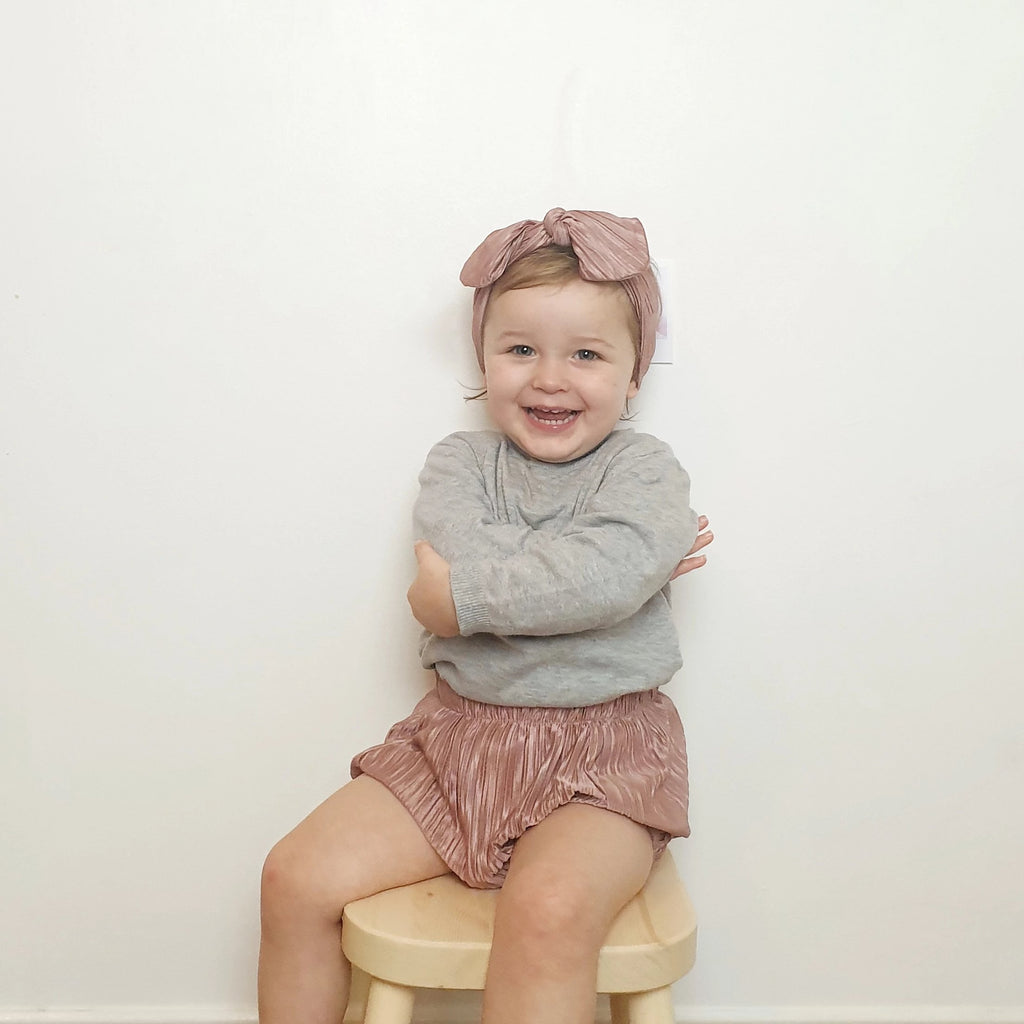 Pleated Metallic Pink Bloomers for baby and toddler