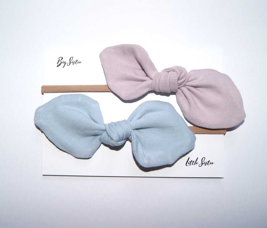 Blue and Pink Bow headband clip gift set