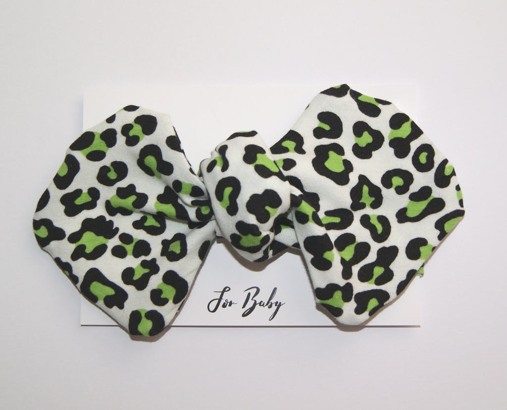 modern Bow headband lime green