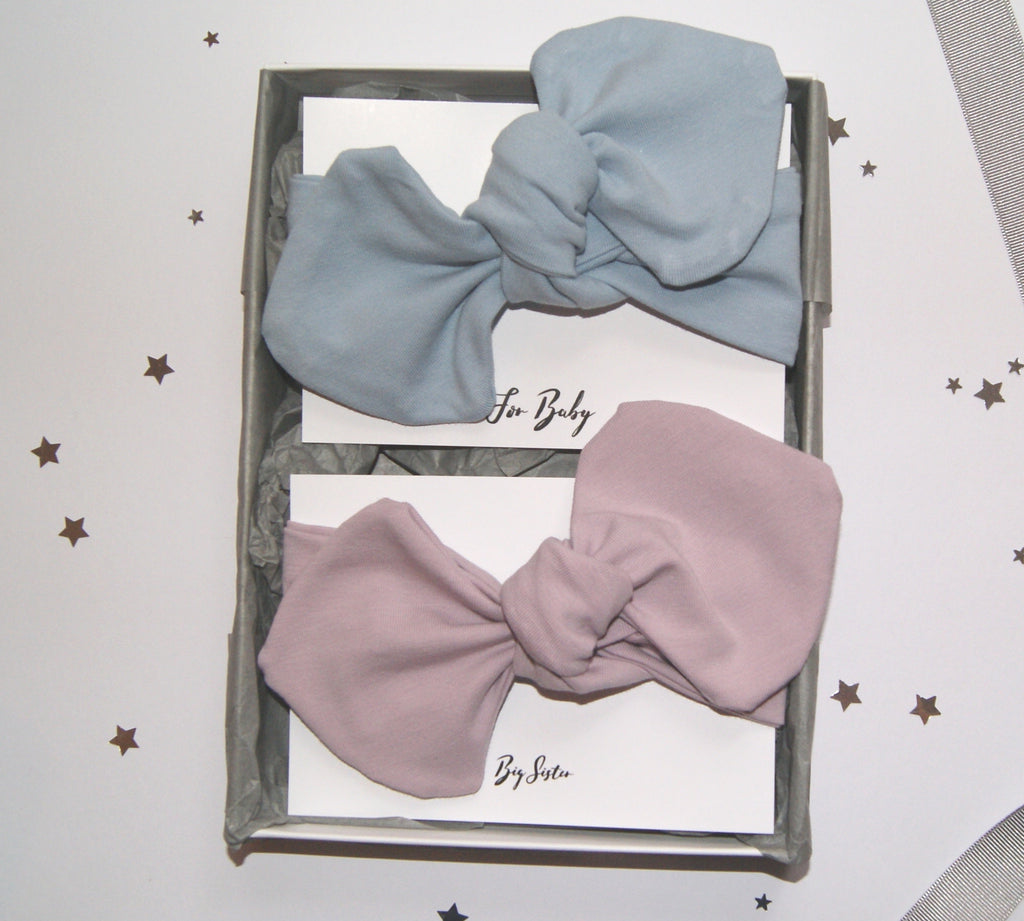 Blue and pink headband set