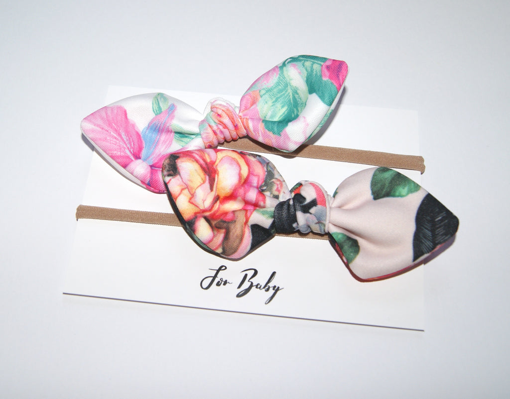 Floral Bow headband set