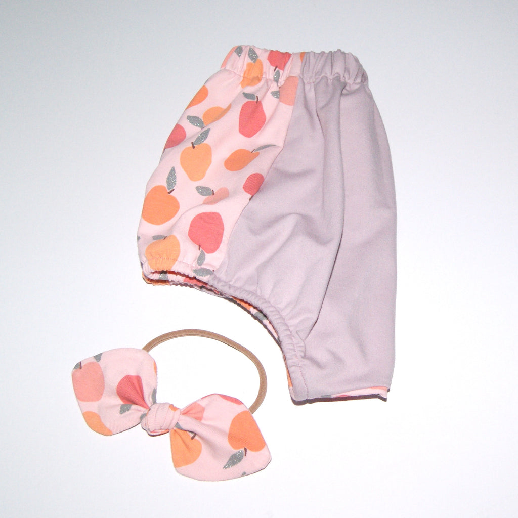 Peach bloomers and bow set