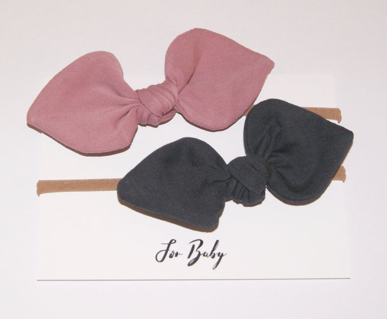 Grey and Pink hair bows