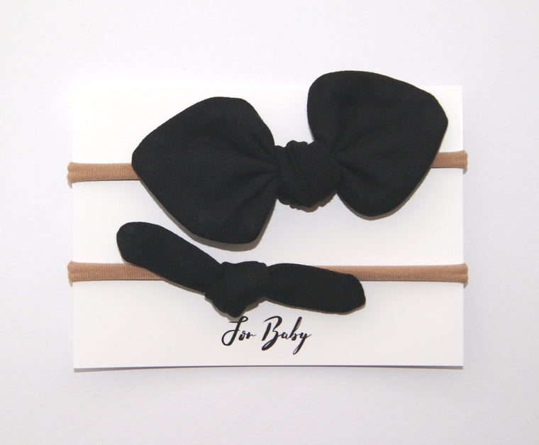 Black bow headband set